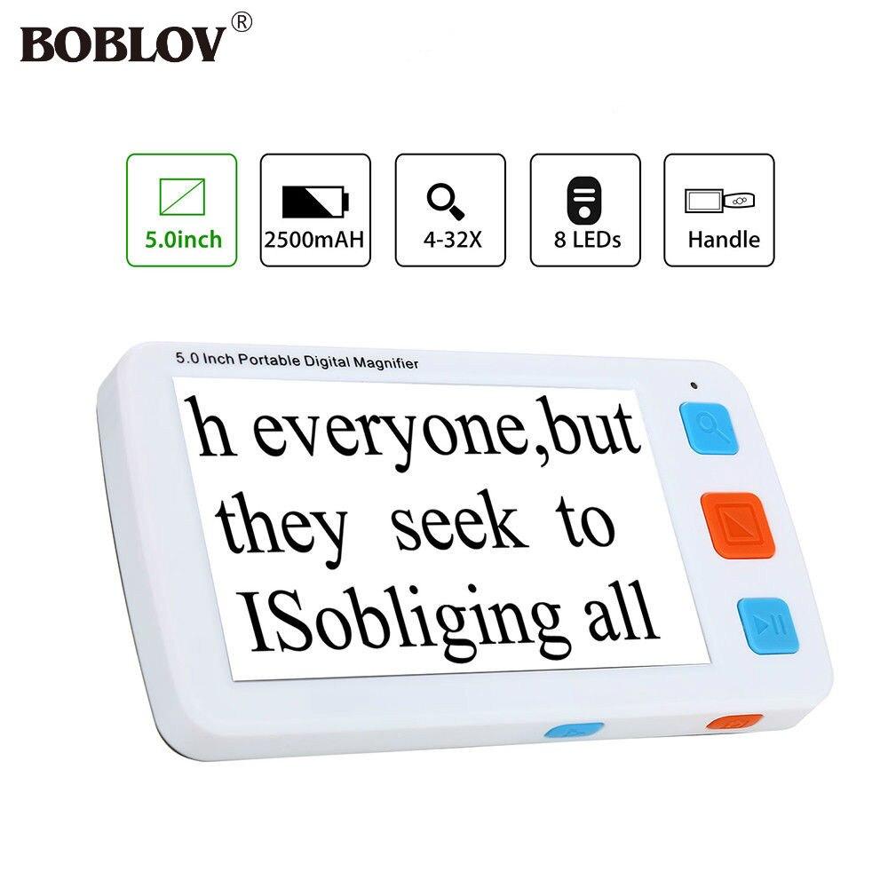 BOBLOV YS011 5.0 pouces LCD 4-32X Vidéo Numérique Flexible Loupe Aide à La Lecture Électronique Portable avec 8 Led lumière réglable