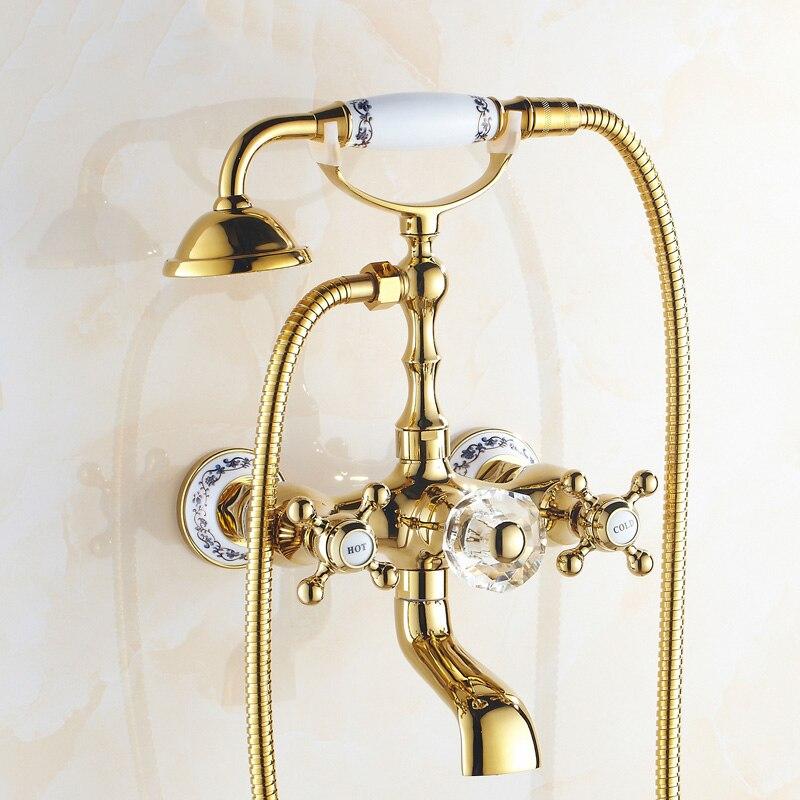 Bad Kranen Luxe Gold Brass Badkamer Mengkraan Wall Mounted Hand Held ...
