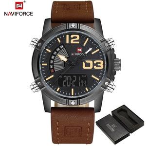Image 2 - NAVIFORCE moda męska Sport zegarki mężczyźni kwarcowy analogowy data zegar człowiek skórzany wojskowy wodoodporny zegarek Relogio Masculino 2020