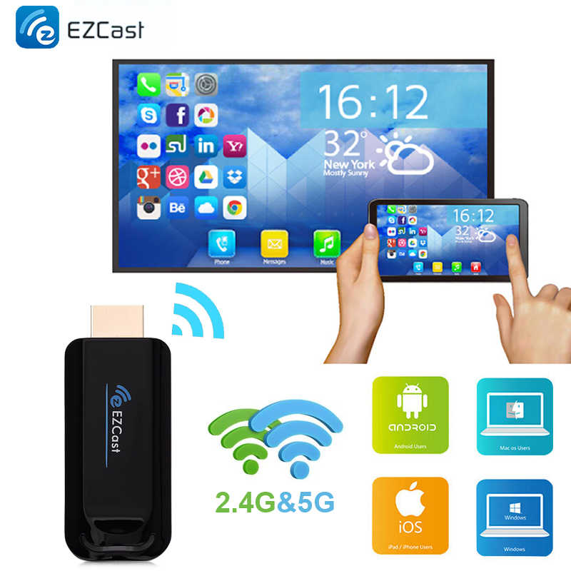 Ezcast 2.4G 5G Smart TV Stick Wireless WiFi Dongle Display Ontvanger HDMI 1080 P Airplay Miracast voor IOS android