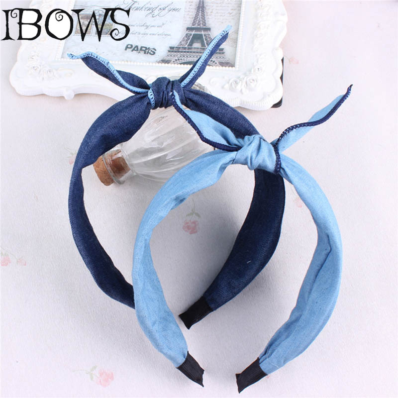 1Pc High Quality Baby Girl Denim Bunny Ears Headband Hair Band Hoop Fashion Hair Accessories For Children Headwear 10pcs set nylon headband for baby girl hair accessories elastic head band kid children fashion headwear