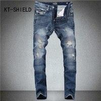 Skinny Jeans Men Fashion Brand Ripped Cargo Casual Hip Hop Full Length Denim Trousers Biker Slim