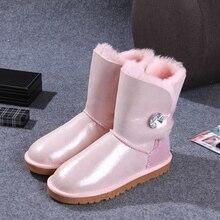 2017 nouveau mode femmes bottes haute qualité naturel de fourrure chaud étanche raquettes de mode d'hiver femmes chaussures livraison gratuite