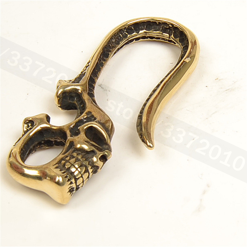 2018 Hot DIY S hook Solid Brass U shaped skull key chain Belt hook Pure brass buckle S dog clasp Decoration hooks 60mm in Buckles Hooks from Home Garden