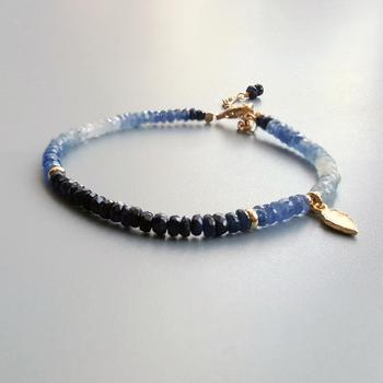 Blue Sapphire Bracelet with Gold Plated 925 Silver Leaf