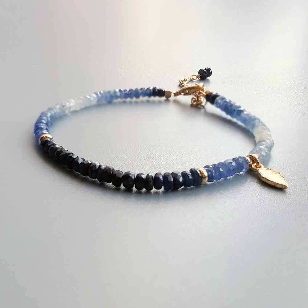 Sapphire Bracelet Silver 925 Bracelet Sapphire Beaded Bracelet Genuine Blue Sapphire Dainty Bracelet Delicate Bracelet-Tiny silver beads
