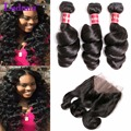 Malaysian Loose Wave With Closure Bundle 7A Malaysian Loose Wave 3 Bundles With 360 Frontal Loose Deep Wave With Closure Deals