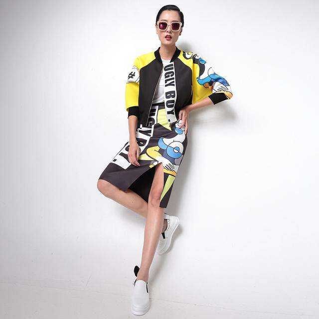 [Twotwinstyle] 2017 duas peças set mangas morcego impressão bomber jacket mulheres brasão + skrit terno feminino nova moda