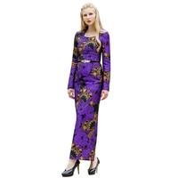 Sexy Ladylike Embroidery Split Slim Cut Long Dress Office Ladies Evening Party Pencil Dress Maxi Dresses DL1043