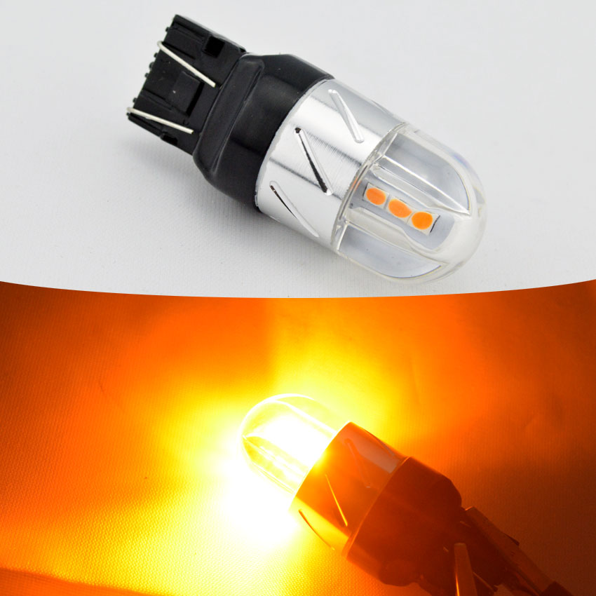 2Pcs 7443 6SMD 3030 W21/5w W21w T20 led Wy21w W21 5w Reverse Backup DRL Car White Yellow Red 2pcs brand new high quality superb error free 5050 smd 360 degrees led backup reverse light bulbs t15 for jeep grand cherokee