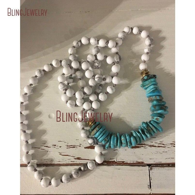 Голубой бирюзовый фишки Heishi ожерелье бежевые говлитовые Бусы Многослойные ручной узел бусы ожерелье NM20624