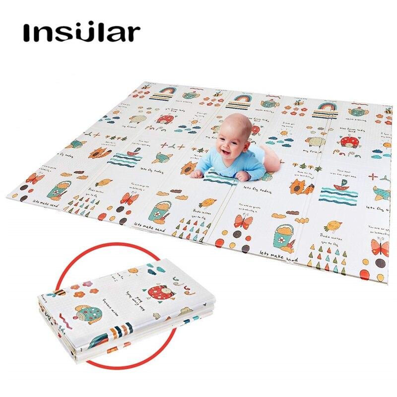 12 couleur 10mm bébé tapis de jeu bébé chambre ramper Pad pliant enfants tapis Double face Durable imperméable pliable avec sac de transport