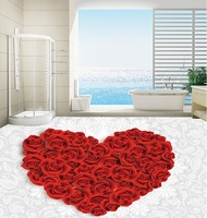 [Self Adhesive] 3D Love Red Roses 2 Non slip Waterproof Photo Self Adhesive Floor Mural Sticker WallPaper Murals Print Decal