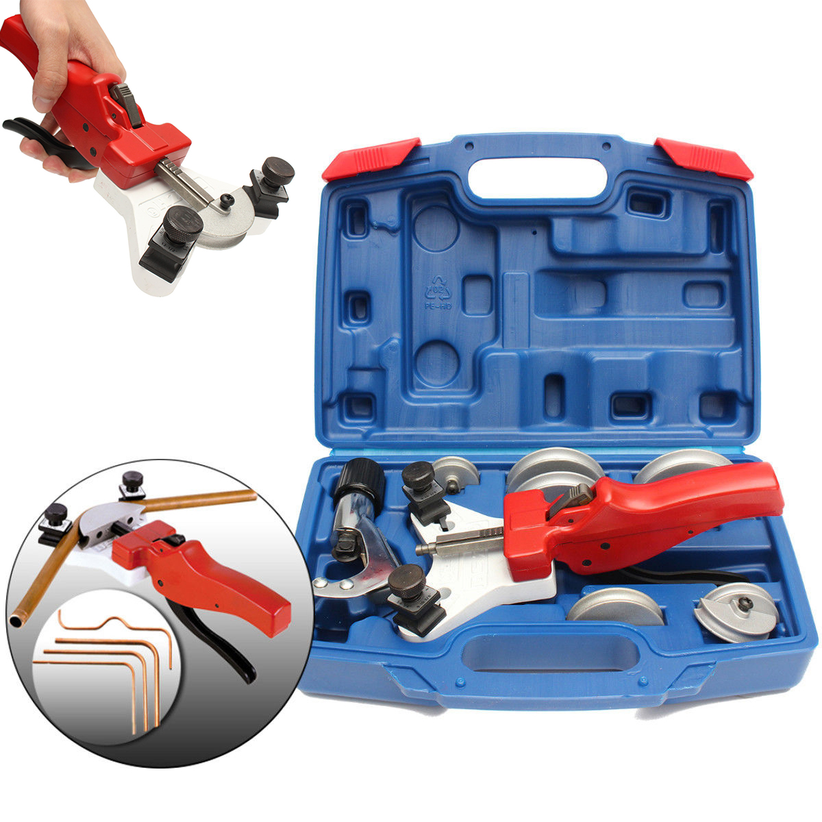 1 Set Manual Steel Pipe Tube Bender with Copper Cutter and Plastic Box For Cutting 15-22mm Tube 1 set heavy duty tube bender manual steel copper pipe bending tool with tube cutter 5 12mm mayitr