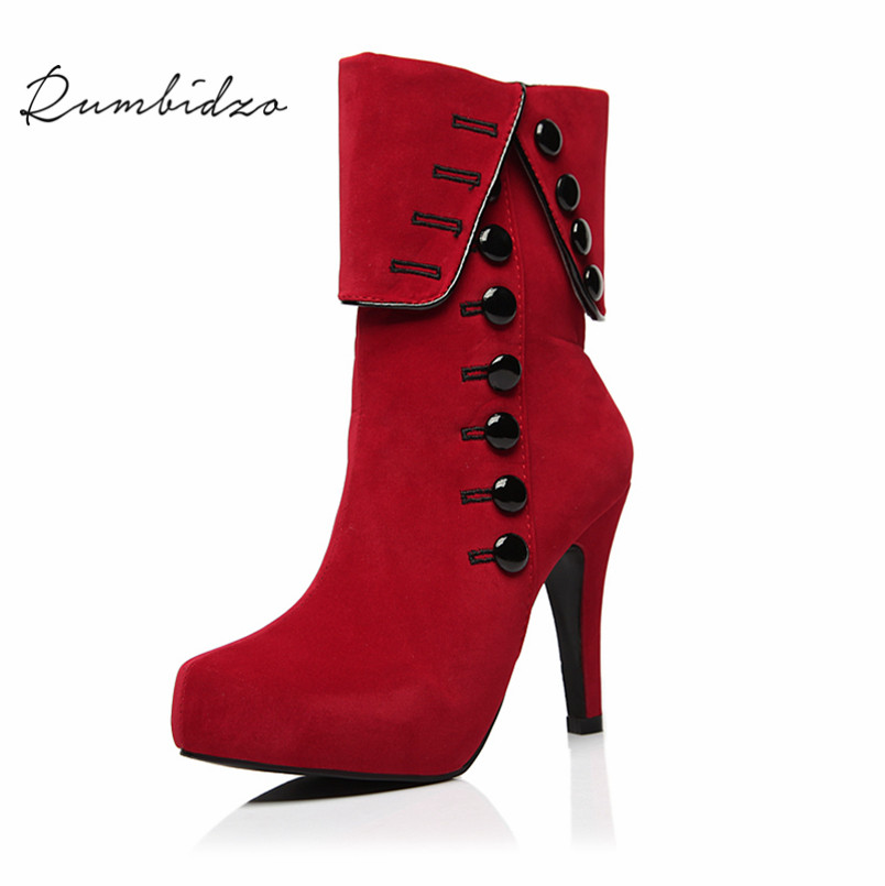 Rumbidzo Fashion Women Boots 2017 High Heels Ankle Boots Platform Shoes Brand Women Shoes Autumn Winter