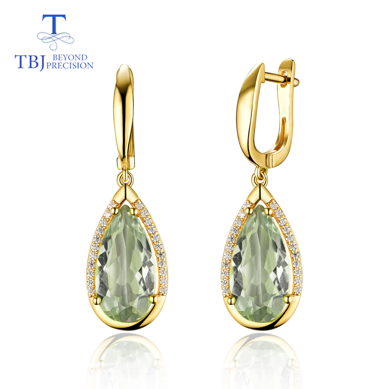 TBJ Natural prasiolite green amethyst mix gemstone clasp Earring 925 Sterling Silver Fine Jewelry For party