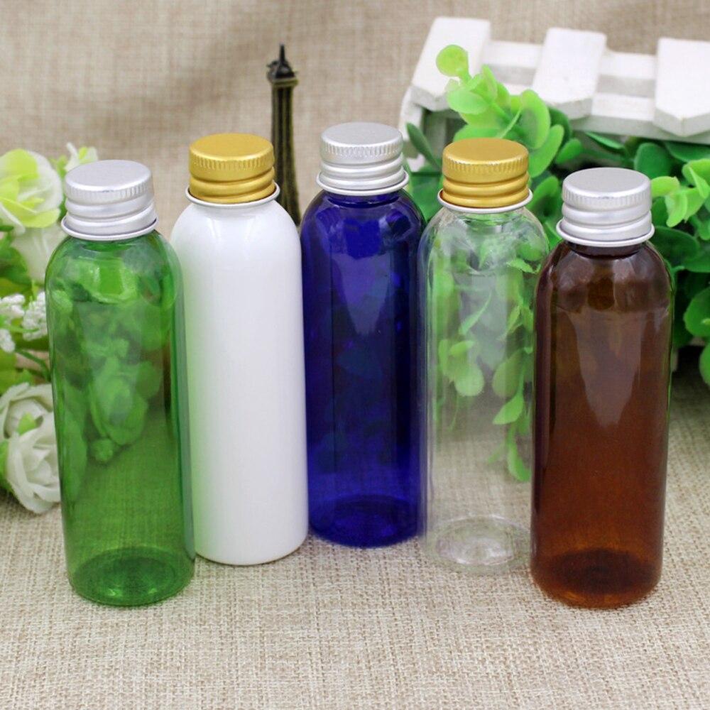 100pcs lot 60ml white clear blue Plastic Bottles 60ML PET Empty Bottles With Aluminum Screw Cap