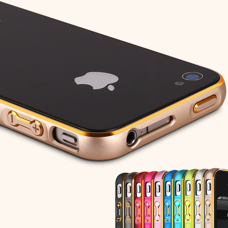 Luxury Metal Bumper for Apple iPhone 4 4s Hippocampal Button Lock Aluminum Alloy Frame with Gold Side