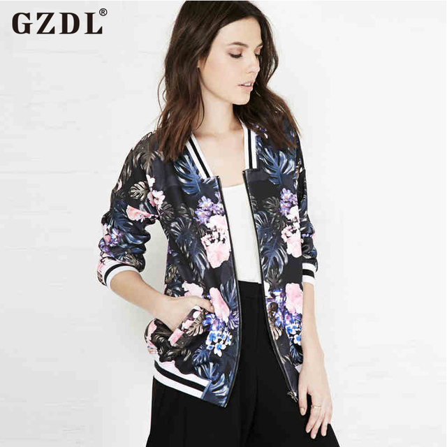 Vintage Women Jacket Floral Print Zipper Casual Small Short Jacket Coat Sweatshirt Autumn Tops Outwear Chaquetas Mujer CL2321