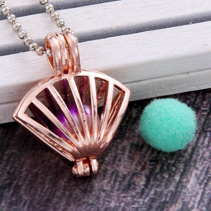 Ouro rosa curvo vieira aroma difusor colar perfume difusor de óleo essencial aromaterapia pingente colar pérola gaiola pingente