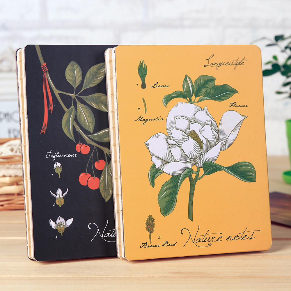 A5 Blank Paper Beautiful Notebook Journal Diary Planner Notepad for Girl, Flower Hardcover Skectch Drawing Book Folios Gift