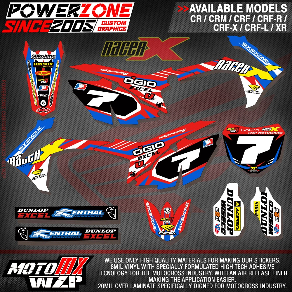 CRF XR CRM 125 250 450 650 Custom Team Graphics Backgrounds Decals Stickers Racer Motorcross Motorcylce Dirt Bike MX Racing - PowerZone Co.,Ltd store