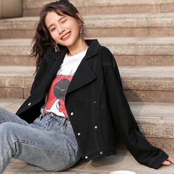 Women Denim Bomber Jacket Korean Black White Jean Jackets Fashion Long Sleeve Crop Jacket Casual Women Outerwear Chaqueta Mujer jeans con blazer mujer