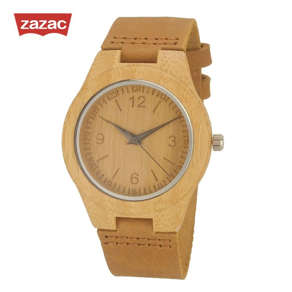 Luxury Brand Zazac Women Bamboo Wood Watches Child And Women Quartz Clock Fashion Casual Leather Strap Wrist Watch Male Relogio