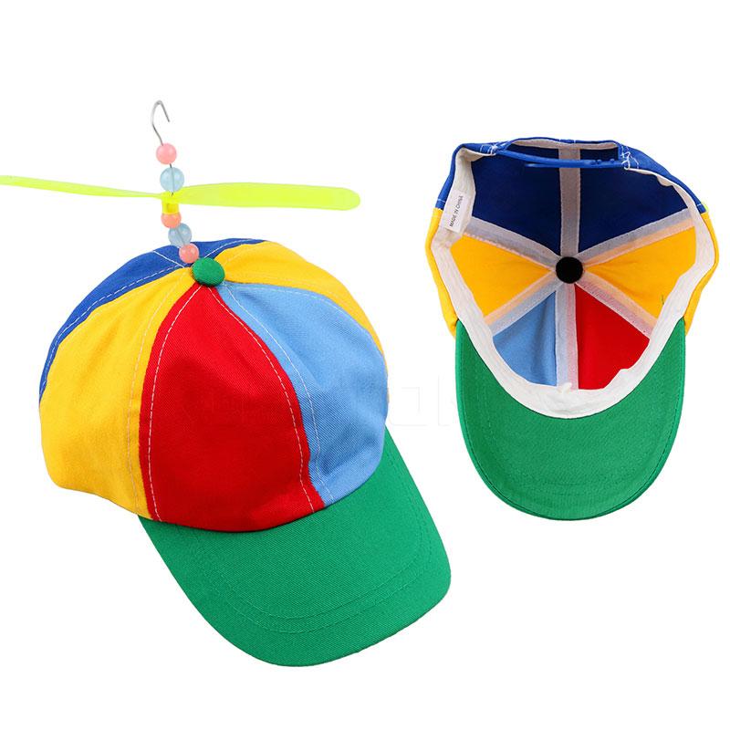 Funny Adult Child Adjustable Propeller Ball Baseball Cap Hat Dragonfly Top Multi-Color Patchwork Funny Clown Sun Cap Costume Hat