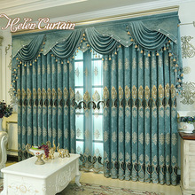 Helen Curtain Thick Chenille Embroidered Blue Curtain For Living Room Luxury European Style Window Curtains For