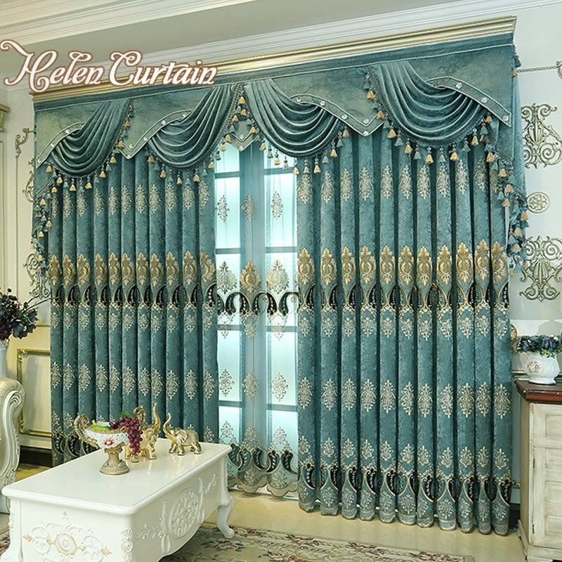 Helen Vorhang Dicken Chenille Bestickt Blau Vorhang Für Wohnzimmer Luxus  Europäischen Stil Fenster Vorhänge Für Schlafzimmer HC308