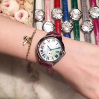 Кожаный браслет топ Нержавеющаясталь Картер часы для Для женщин девочек Дамская обувь; 3 цвета спортивные наручные часы