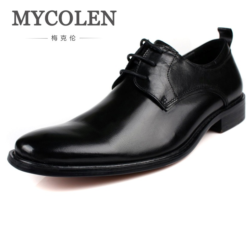MYCOLEN Spring Genuine Leather Men Shoes Minimalist Design Business Wedding Formal Popular European Inside Heighten Shoes spring design popular men s hooded fleece black yellow size xl