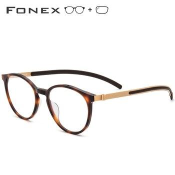 e3f12449df B gafas de titanio puro con prescripción 2019 nuevas gafas de acetato  redondas Vintage para hombre, monturas ópticas de miopía, gafas sin  tornillos