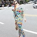 2016 Designer Runway Casual Pants Set High Quality Women's Sets Fashion Geometry Floral Print Pants Suit