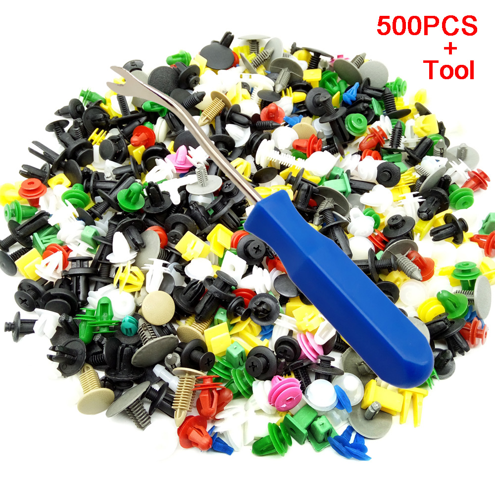 CNIKESIN 500pcs universal Mixed auto fastener Vehicle Bumper Clips Retainer Fastener Rivet Door Panel Fender Liner