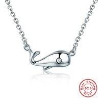 925 Ayar Gümüş Okyanus Yunus Pürüzsüz Kolye Zincir Bağlantı Gümüş Kadınlar Için Kolye Takı