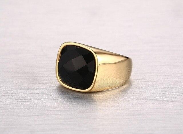Мужское кольцо из нержавеющей стали золотого цвета в европейском