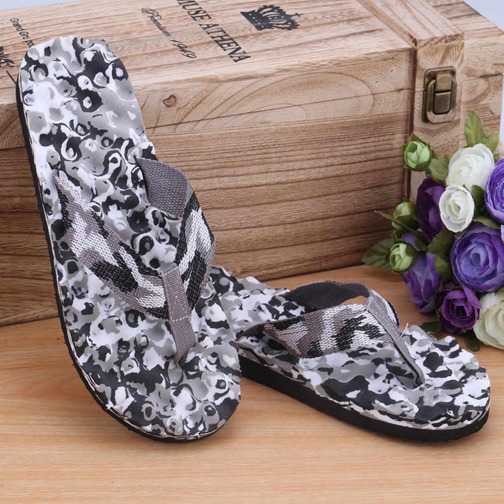 Homens Camuflagem Verão Flip Flops Sapatos de cores misturadas casuais Sandálias de praia Chinelo indoor & ao ar livre zapatos de hombre claquette novo