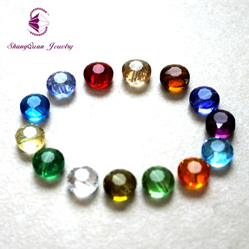 Shangquan New Multi Colors 100 Pieces lot DIY Crystal Glass Beads Fit Charms Bracelets Necklaces 8mm Bead Jewelry Making in Beads from Jewelry Accessories
