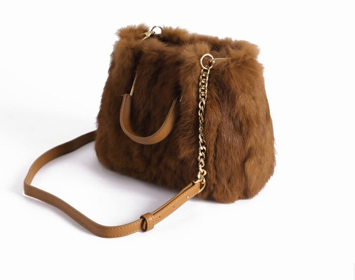 2018 winter new real rabbit fur women's small handbag fashion lady's shoulder bag mini  fur handbag