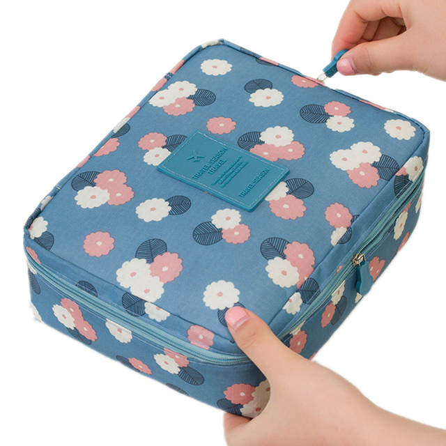 Women Makeup bag Cosmetic bag Case Make Up Organizer Toiletry Storage Neceser Rushed Floral Nylon Zipper New Travel Wash pouch купить