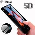 Vidrio templado de borde curvado redondo 5D para iPhone 6 6 s Plus 7 8 X Protector de pantalla de cubierta completa Premium 5D protección TOMKAS
