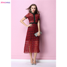 HANZANGL Brand Women Dress Short Sleeve Polo Collar Water-soluble Cutout Lace Summer Dress Elegant Sexy Casual Dress