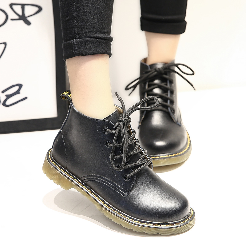 Top Quality Leather Flat Martins Boots Women Snow Boots Fashion Casual Walking Shoes Woman for four season pu leather martins women boots snow boots military girls for casual walking shoes winter femme bota 2017 7687