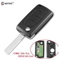 Keyyou 3 botões do carro caso de entrada keyless flip dobrável remoto chave 433 mhz com id46 chip hu83 lâmina para peugeot 207 307 308 407 607