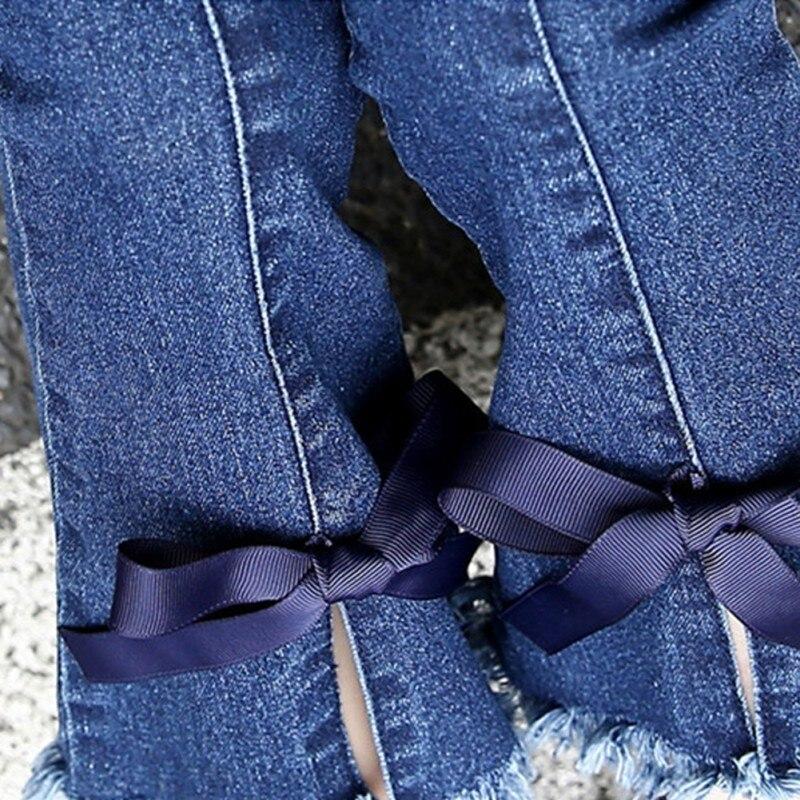 Девушки Дети Повседневное Solid Mid Boot Cut эластичный пояс стрейч самосовершенствование ленты лук джинсы