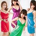 2017 Recién Llegado de vestidos de las señoras vestido atractivo de la ropa interior de las mujeres camisón de Satén envío gratis