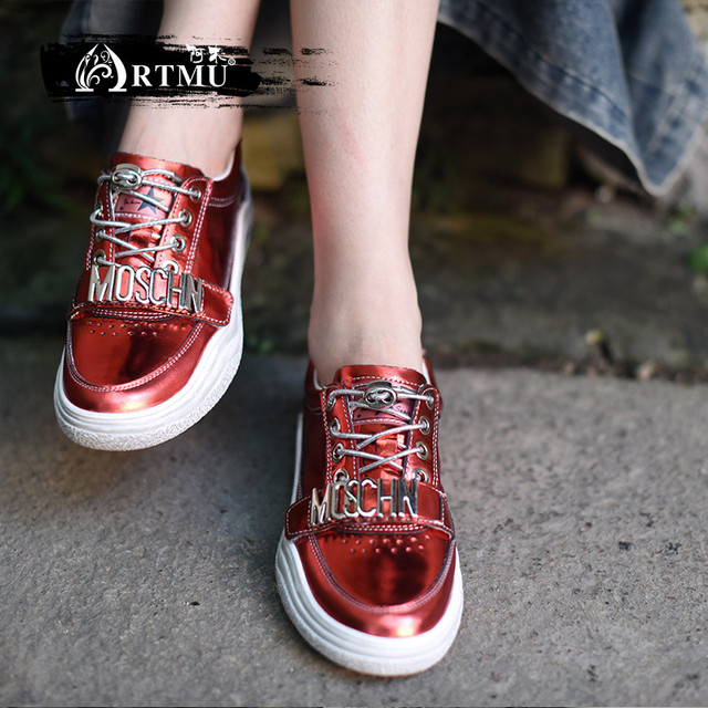 Artmu 2019 الربيع والخريف جديد مشرق جلدية شقة النساء أحذية عارضة حذاء أبيض أربعة مواسم اليدوية أحذية YM888