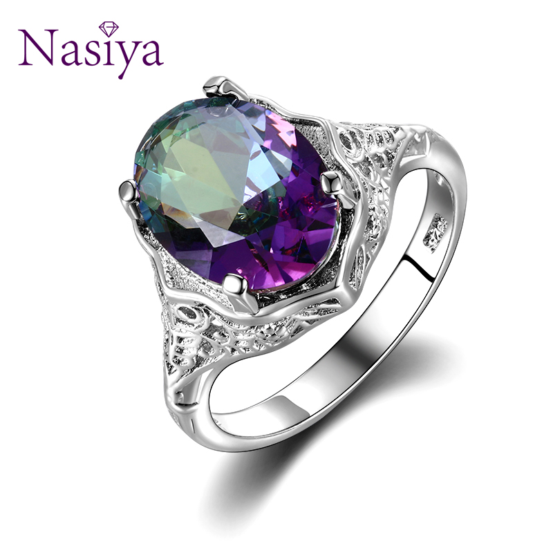 Nasiya Trendy Round 925 Sterling Silver Rings For Women With Colorful Zircon Stone Silver Jewelry Finger Ring Birthday Gift